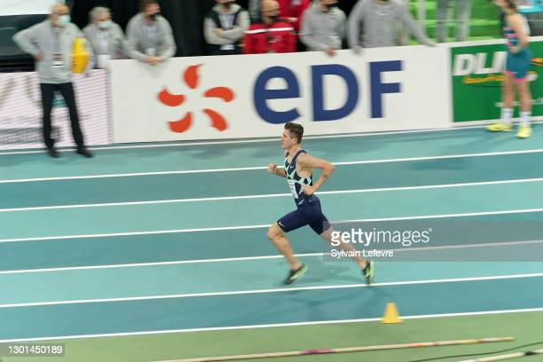 Jakob Ingebrigtsen of Norway competes in the men's 1500m final during the World Athletics Indoor Tour at Arena Stade Couvert on February 09, 2021 in...