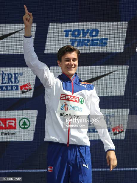 Jakob Ingebrigtsen of Norway gold poses during the medal ceremony for the Men's 1500 metres during day five of the 24th European Athletics...