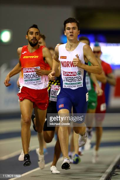 Jakob Ingebrigtsen of Norway in action during heat 1 of the men's 3000m steeplechase during day one of the 2019 European Athletics Indoor...