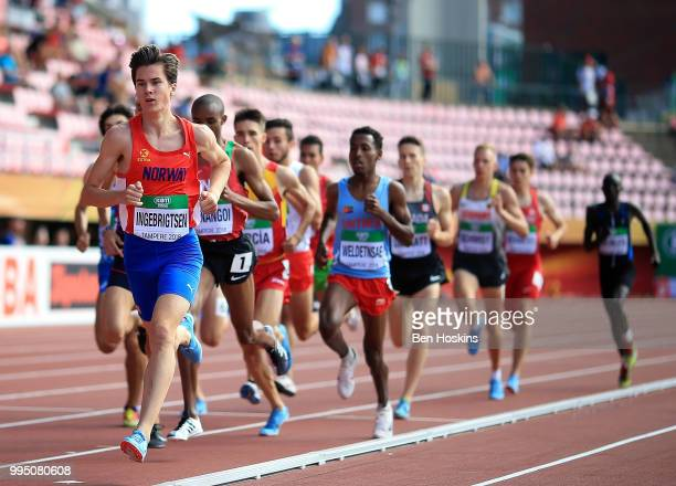 Jakob Ingebrigtsen of Norway leads the field during the men's 1500m heats on day one of The IAAF World U20 Championships on July 10 2018 in Tampere...