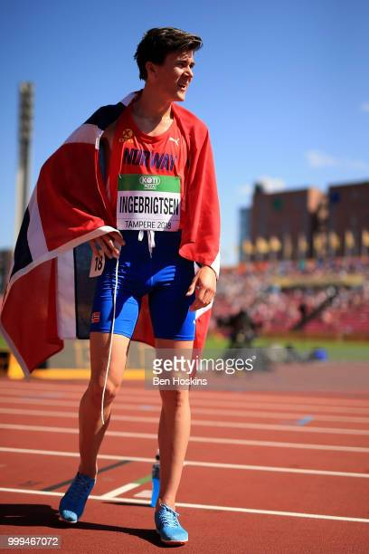 Jakob Ingebrigtsen of Norway looks on after winning bronze in the final of the men's 5000m on day five of The IAAF World U20 Championships on July 10...