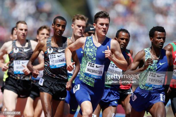 Jakob Ingebrigtsen of Norway races in the men's 1 mile during the Prefontaine Classicat Cobb Track Angell Field on June 30 2019 in Stanford California