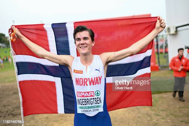 Jakob Ingebrigtsen of Norway reacts after the U2O Men´s final race of the SPAR European Cross Country Championships at the Parque da Bela Vista on...
