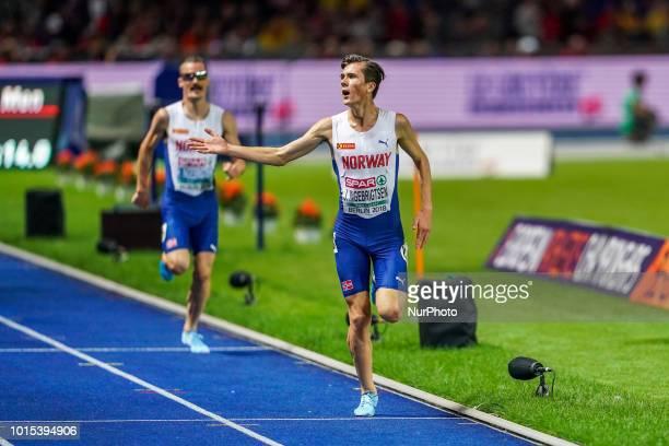 Jakob Ingebrigtsen of Norway winning the 5000 meter final for men at the Olympic Stadium in Berlin at the European Athletics Championshipin Berlin...