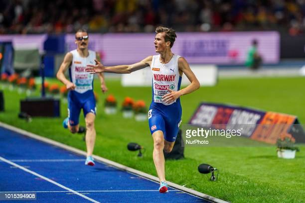Jakob Ingebrigtsen of  Norway winning the 5000 meter final for men at the Olympic Stadium in Berlin at the European Athletics Championshipin Berlin...