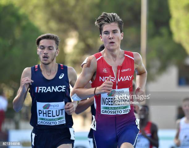 Jakob Ingebrigtsen of Norway wins the race of Steeplechase Men during European Athletics U20 Championships on July 23 2017 in Grosseto Italy