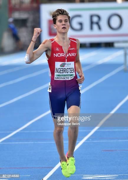 Jakob Ingebrigtsen of Norway wins the race of Steeplechase Men during European Athletics U20 Championships on July 23 2017 in Grosseto Italy