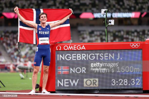 Jakob Ingebrigtsen of Team Norway celebrates winning the gold medal in the Men's 1500m Final on day fifteen of the Tokyo 2020 Olympic Games at...