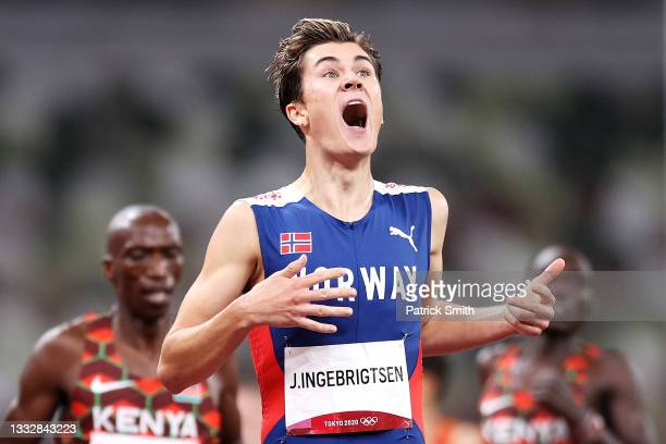 Jakob Ingebrigtsen of Team Norway reacts as he crosses the finish line winning the gold medal in the Men's 1500m Final on day fifteen of the Tokyo...
