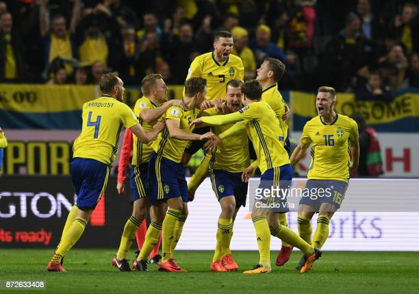 Jakob Johansson of Sweden celebrates after scoring the opening goal with his team mates during the FIFA 2018 World Cup Qualifier PlayOff First Leg...