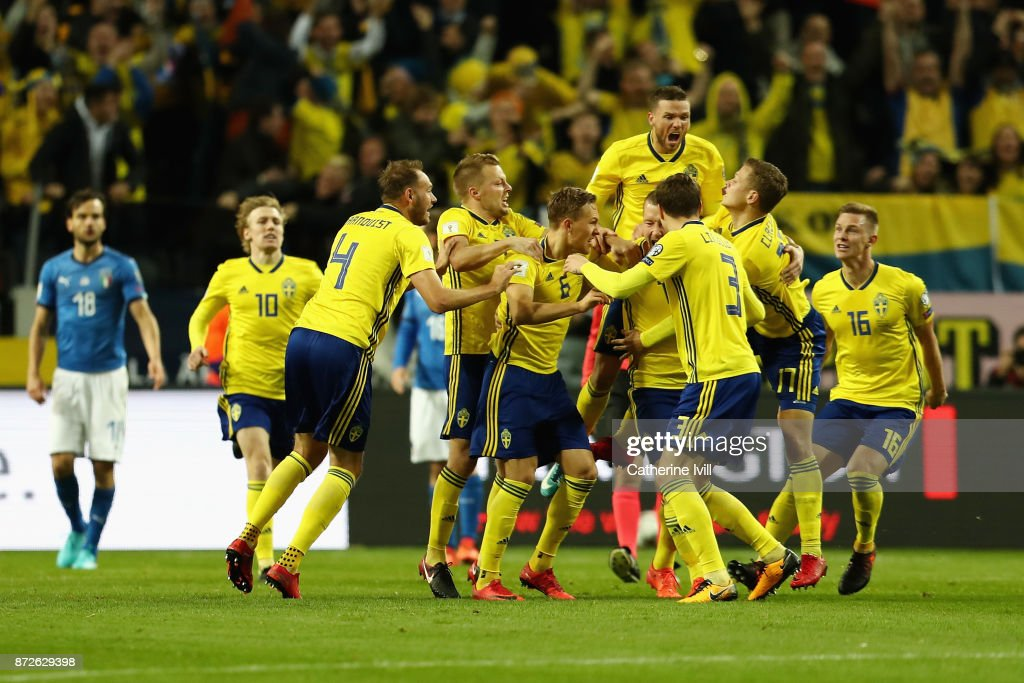 Jakob Johansson of Sweden celebrates (obscure) scoring his sides first goal with his team mates during the FIFA 2018 World Cup Qualifier Play-Off: First Leg between Sweden and Italy at Friends arena on November 10, 2017 in Solna, Sweden.