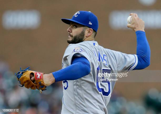Jakob Junis of the Kansas City Royals pitches against the Detroit Tigers during the second inning at Comerica Park on September 22 2018 in Detroit...