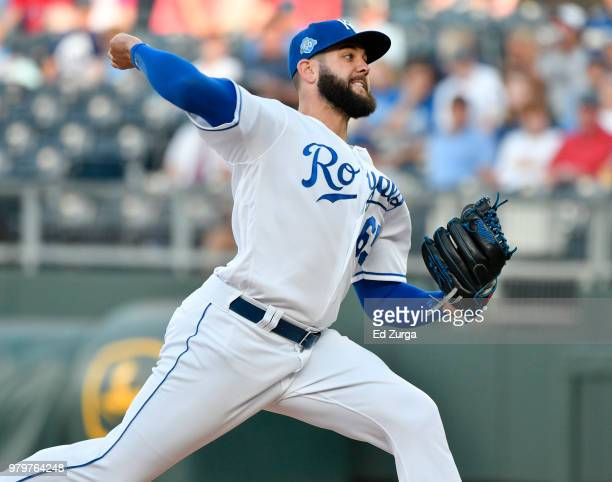 Wily Peralta of the Kansas City Royals throws in the seventh inning against the Texas Rangers at Kauffman Stadium on June 20 2018 in Kansas City...