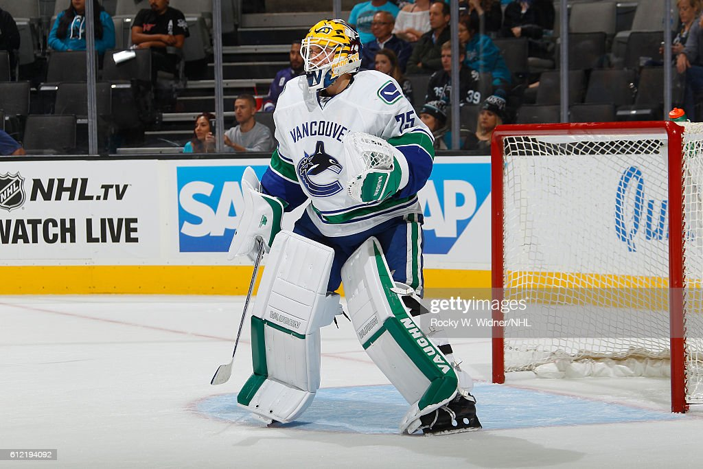 Jakob Markstrom #25 of the Vancouver Canucks defends the net against the San Jose Sharks at SAP Center on September 27, 2016 in San Jose, California.