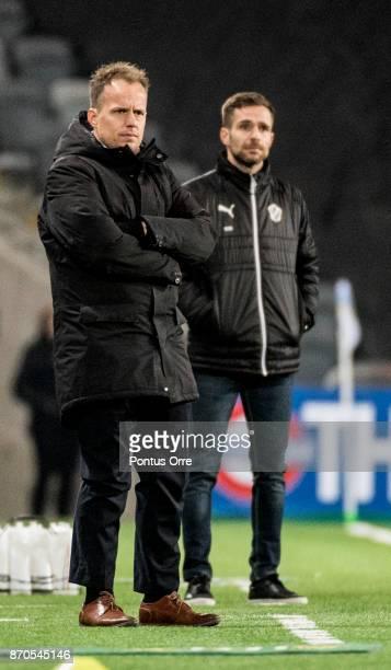 Jakob Michelsen head coach of Hammarby IF and Igor Krulj head coach of Halmstad BK during the Allsvenskan match between Hammarby IF and Halmstad BK...