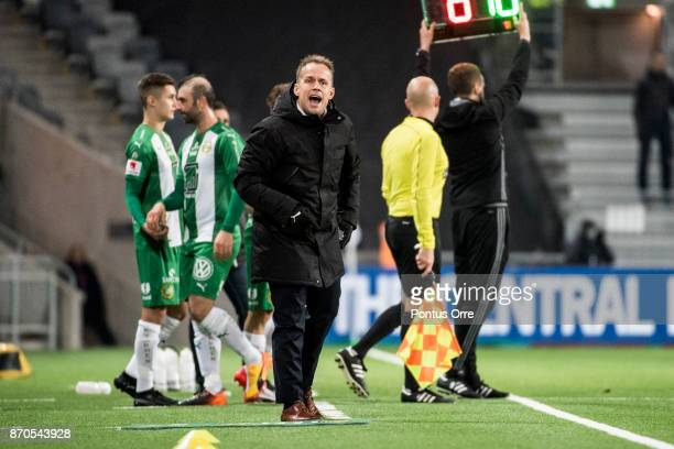 Jakob Michelsen head coach of Hammarby IF during the Allsvenskan match between Hammarby IF and Halmstad BK at Tele2 Arena on November 5 2017 in...