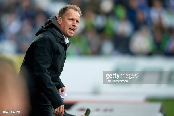 Jakob Michelsen head coach of OB Odense gives instructions during the Danish Superliga match between OB Odense and AGF Arhus at Nature Energy Park on...