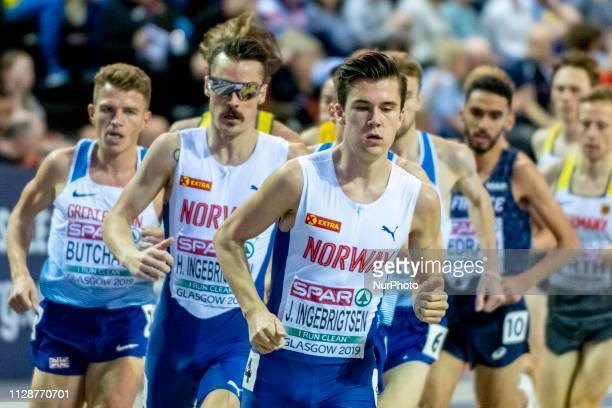 Jakob NOR competing in the 3000m Men Final event during day TWO of the European Athletics Indoor Championships 2019 at Emirates Arena in Glasgow...
