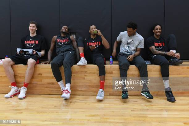 Jakob Poeltl CJ Miles Bruno Caboclo Kyle Lowry and DeMar DeRozan of the Toronto Raptors look on during an open practice at BioSteel Centre Toronto...