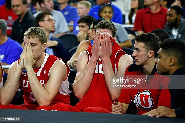 Jakob Poeltl of the Utah Utes reacts on the bench in the second half against the Duke Blue Devils during a South Regional Semifinal game of the 2015...