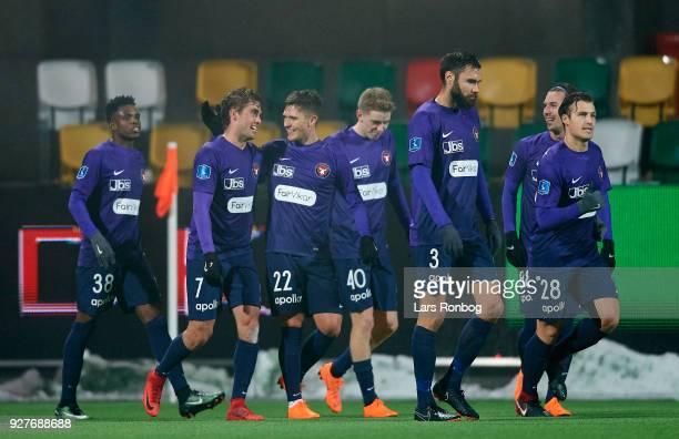 Jakob Poulsen and Mikkel Duelund of FC Midtjylland celebrate after scoring their second goal during the Danish Alka Superliga match between Silkeborg...