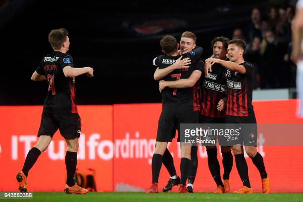 Jakob Poulsen Mikkel Duelund Gustav Wikheim and Artem Dovbyk of FC Midtjylland celebrate after scoring their third goal during the Danish Alka...
