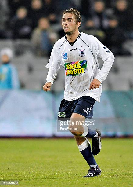 Jakob Poulsen of AGF Aarhus during the SAS Liga match between AGF Aarhus and FC Nordsjaelland held on October 26 2009 at the NRGi Park in Aarhus...