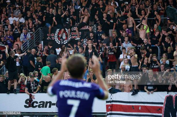 Jakob Poulsen of FC Midtjylland celebrates with the fans after the Danish Superliga match between Vejle Boldklub and FC Midtjylland at Vejle Stadion...