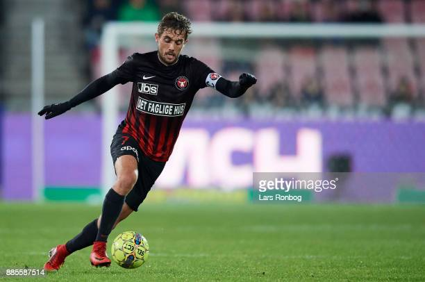 Jakob Poulsen of FC Midtjylland controls the ball during the Danish Alka Superliga match between FC Midtjylland and OB Odense at MCH Arena on...