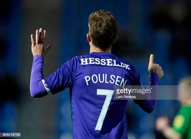 Jakob Poulsen of FC Midtjylland $ges the Danish DBU Pokalen Cup quarterfinal match between Hobro IK and FC Midtjylland at DS Arena on April 12 2018...