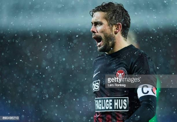 Jakob Poulsen of FC Midtjylland shouts during the Danish Alka Superliga match between Randers FC and FC Midtjylland at BioNutria Park on December 11...
