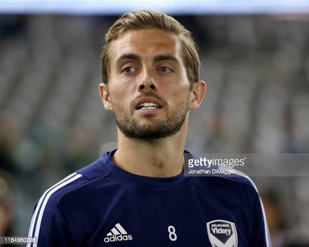 Jakob Poulsen of Melbourne Victory warms up during the round four A-League match between Melbourne Victory and Western United at Marvel Stadium on...