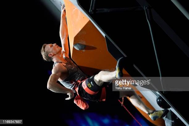 Jakob Schubert of Austria competes in the Lead during Combined Men's Final on day eleven of the IFSC Climbing World Championships at the Esforta...