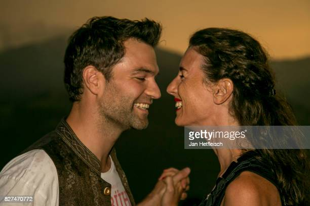 Jakob Seeboeck and Michaela Seeboeck during the 14th Almrauschparty at Rosi's Sonnbergstuben on August 4 2017 in Kitzbuehel Austria