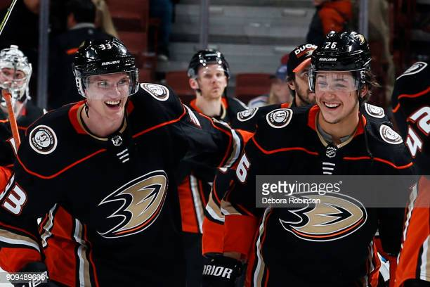 Jakob Silfverberg and Brandon Montour of the Anaheim Ducks smile following their 63 win against the New York Rangers on January 23 2018 at Honda...