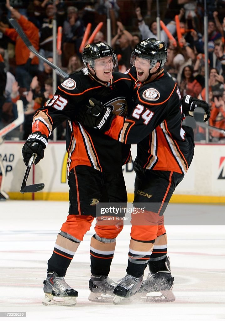 Jakob Silfverberg #33 and Simon Despres #24 of the Anaheim Ducks celebrate Silfverberg's third period goal against Winnipeg Jets in Game Two of the Western Conference Quarterfinals between the Ducks and Jets during the 2015 NHL Stanley Cup Playoffs at Honda Center on April 18, 2015 in Anaheim, California.