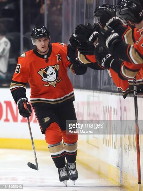 Jakob Silfverberg of the Anaheim Ducks at Honda Center on October 15, 2021 in Anaheim, California.