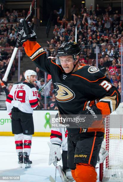 Jakob Silfverberg of the Anaheim Ducks celebrates his firstperiod goal during the game against the New Jersey Devils at Honda Center on March 18 2018...