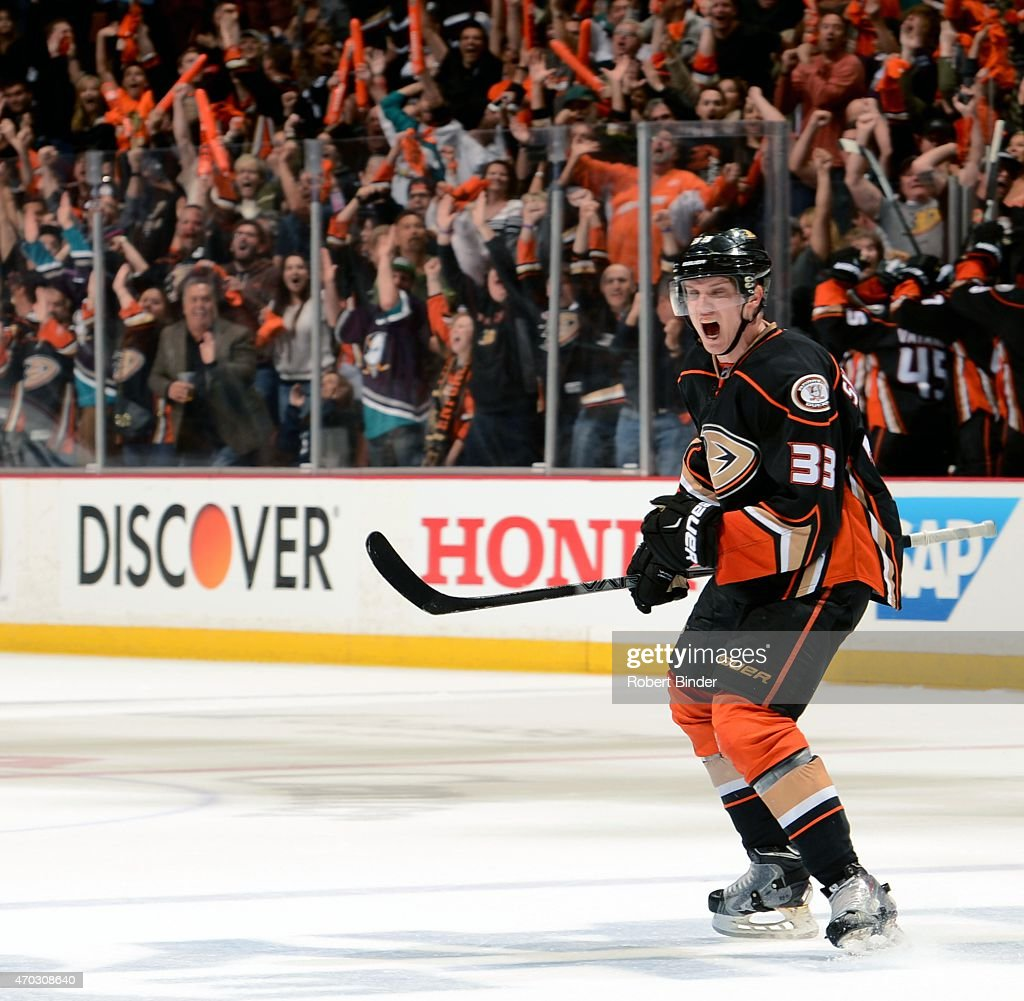 Jakob Silfverberg #33 of the Anaheim Ducks celebrates his third period goal against Winnipeg Jets in Game Two of the Western Conference Quarterfinals between the Ducks and Jets during the 2015 NHL Stanley Cup Playoffs at Honda Center on April 18, 2015 in Anaheim, California.