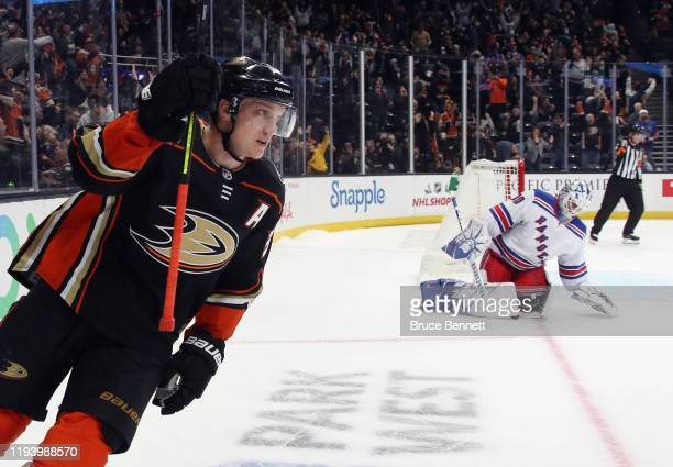 Jakob Silfverberg of the Anaheim Ducks scores the game winning goal in the shoot-out against Henrik Lundqvist of the New York Rangers at the Honda...