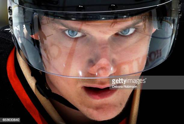 Jakob Silfverberg of the Anaheim Ducks skates in warmups prior to the game against against the St Louis Blues on March 15 2017 at Honda Center in...