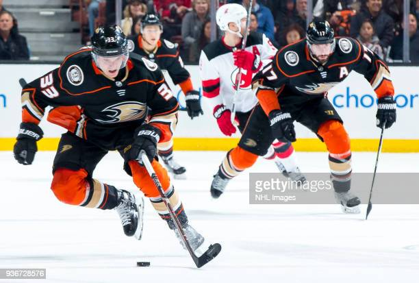 Jakob Silfverberg of the Anaheim Ducks skates with the puck during the third period of the game against the New Jersey Devils at Honda Center on...