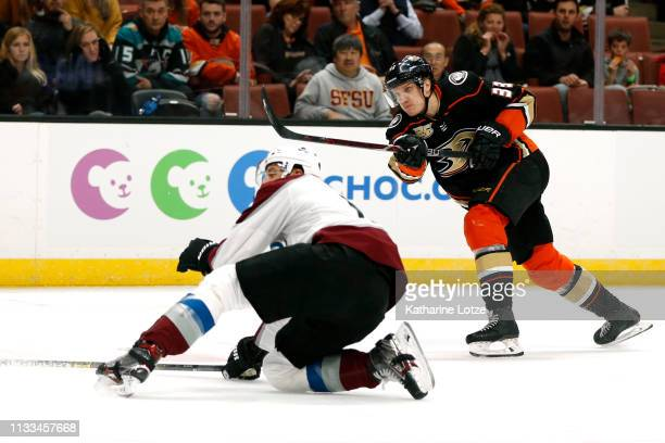 Jakob Silfverberg of the Anaheim Ducks takes a shot on goal during the first period against the Colorado Avalanche at Honda Center on March 03, 2019...
