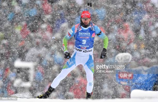 Jakov Fak of Slovenia competes to place second in the men's 125 km pursuit event at the IBU World Cup Biathlon in Hochfilzen Austria on December 9...