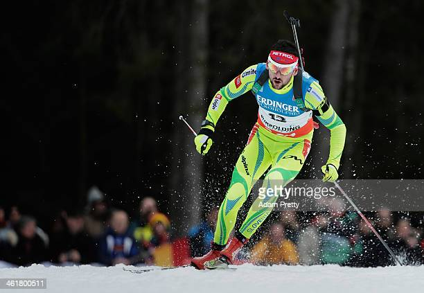 Jakov Fak of Slovenia in action during the 20km mens individual on day four of the EOn IBU World Cup Biathlonon January 11 2014 in Ruhpolding Germany