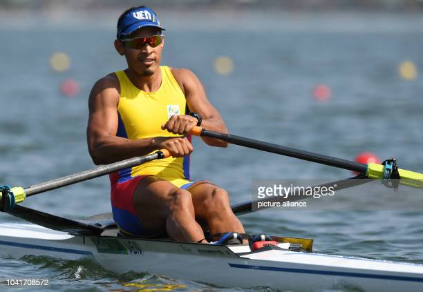Jakson Vicent Monasterio of Venezuela competes during the Men's Single Sculls Semifnals of the Rowing events during the Rio 2016 Olympic Games at...