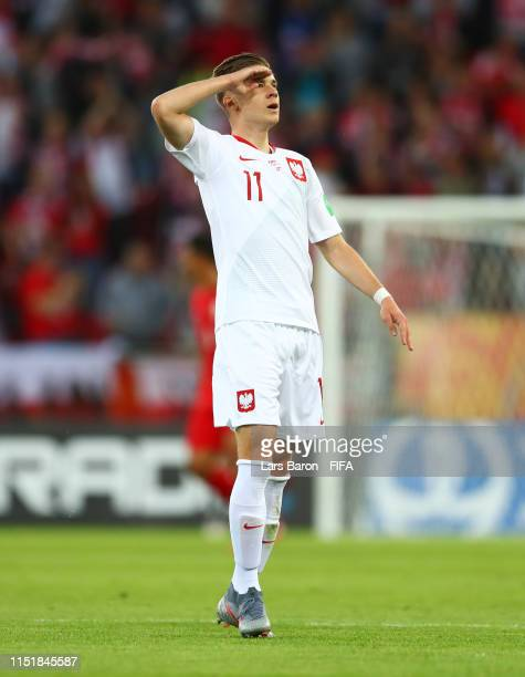 Jakub Bednarczyk of Poland celebrates as he scores his team's first goal during the 2019 FIFA U-20 World Cup group A match between Poland and Tahiti...