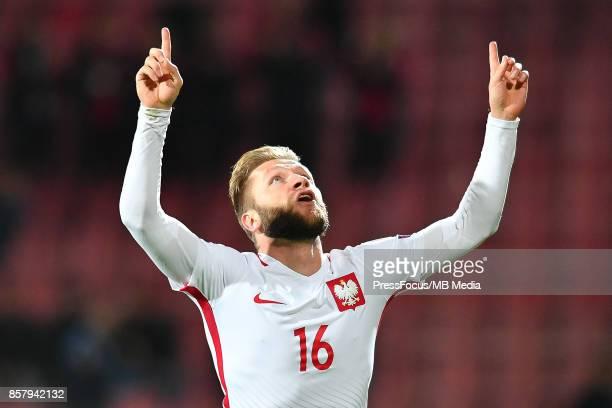 Jakub Blaszczykowski celebrates scoring a goal during the FIFA 2018 World Cup Qualifier between Armenia and Poland on October 5 2017 in Yerevan...