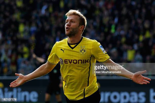 Jakub Blaszczykowski of Borussia Dortmund celebrates after he scores his teams fifth goal of the game during the Bundesliga match between Borussia...