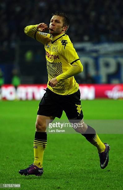 Jakub Blaszczykowski of Dortmund celebrates after scoring his teams third goal during the Bundesliga match between Hamburger SV and Borussia Dortmund...